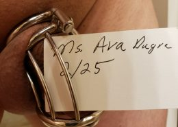 Chastity slave in cage with sign of Ms. Ava Durga's name and date